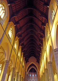 The roof over the nave is all timber, unusual for a gothic style cathedral