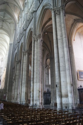 The southern side of the nave of Amiens Cathedral, looking towards the apse.