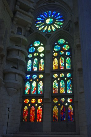 The purpose of the windows in La Sagrada Familia in Barcelona is to bathe the interior space with shafts of intensely coloured light