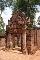 One of the many finely carved pediments at the Khmer temple, Banteay Srei