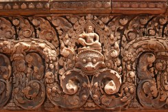 The centrepiece of the lintel over one of the doorways at Khmer temple, Banteay Srei