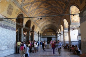 The upstairs galleries of Hagia Sophia also have marble-lined decorative walls.