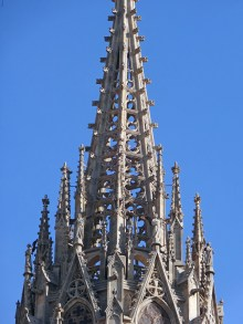 The open fretwork of one of the spires of Barcelona Cathedral