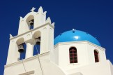 A Greek Orthodox bell tower on the Mediterranean island of Santorini