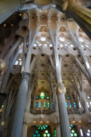 Looking up at the roof over the nave of the Basilica de la Sagrada Familia, Barcelona