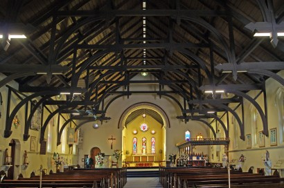 The rare double hammer beam roof of All Saints' Brisbane