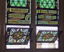 A pivoting stained glass window from St Andrew's Aglican Church, South Brisbane, Australia.