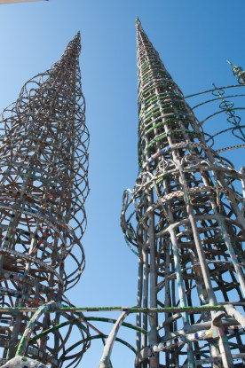 Simon Rodia's Watts Towers, in Los Angeles, California, hand built by one man from collected scrap, over several decades.