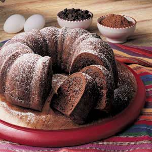Chocolcate Bundt Cake with dusting of icing sugar