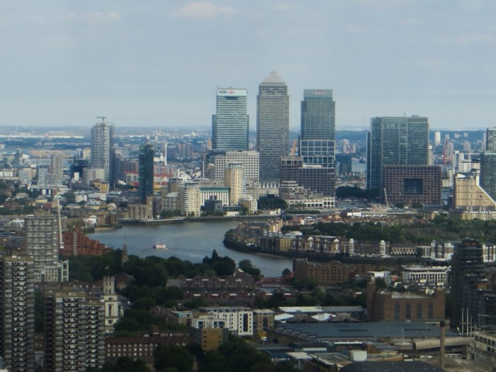 Looking eastwards to Canary Wharf