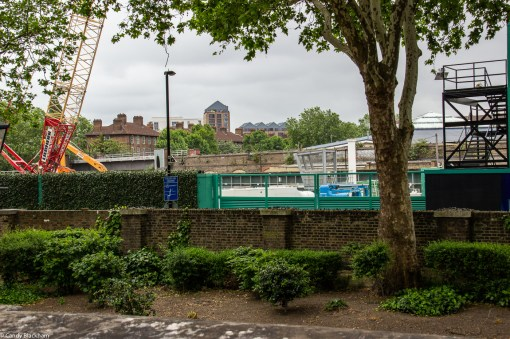 A limited 'shrubbery' and the building development on the other side of Diamond Way