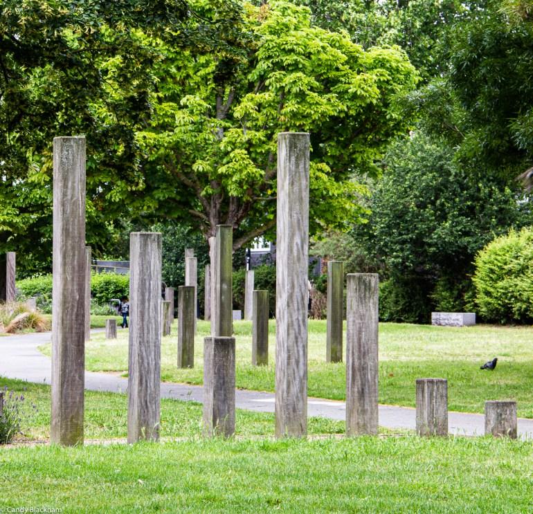 Wooden posts in Margaret McMillan Park