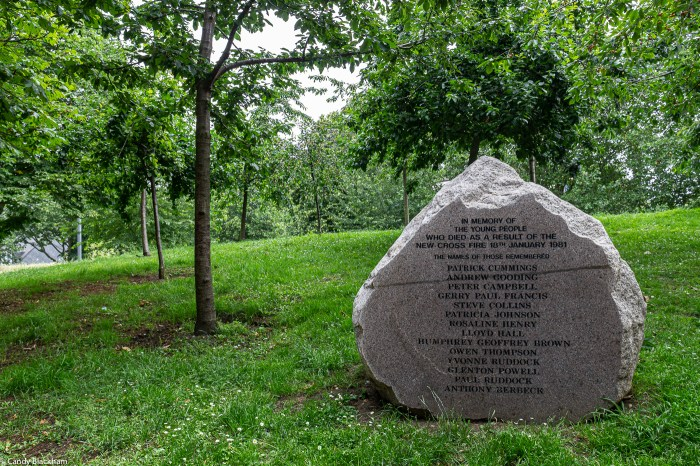 The Memorial in Fordham Park to the victims of the 1981 fire in New Cross