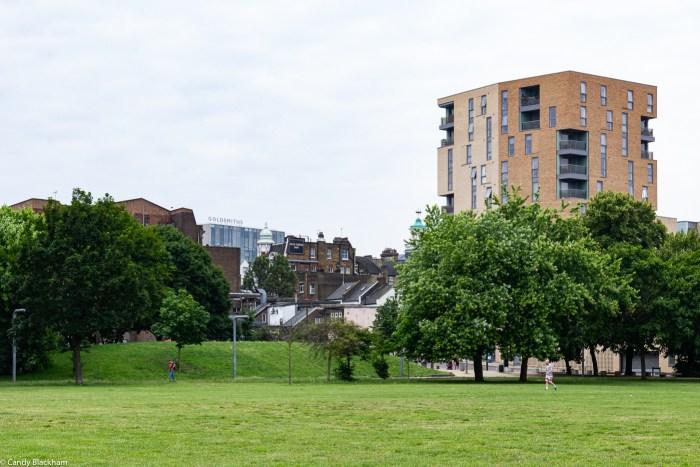 In Fordham Park looking towards New Cross main road