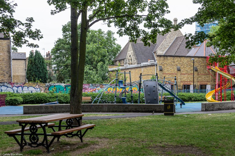 Part of the children's play area in Eckington Park Gardens in New Cross