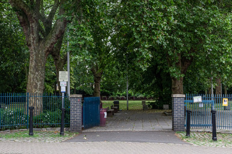 The entrance to Eckington Gardens Park in New Cross from Monson Road