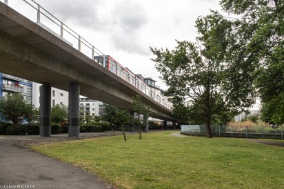 The DLR running into Deptford Bridge station