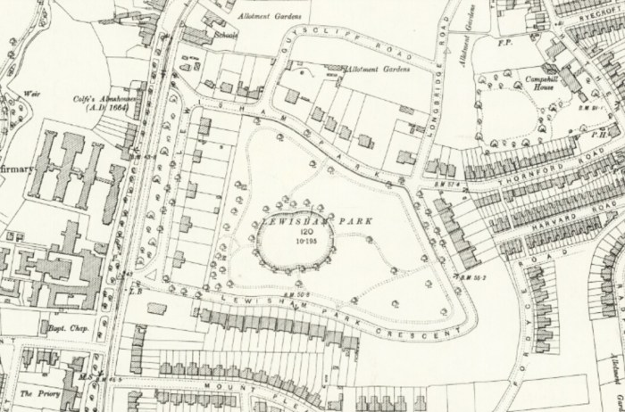 OS Map of 1897 of Lewisham Park in South East London