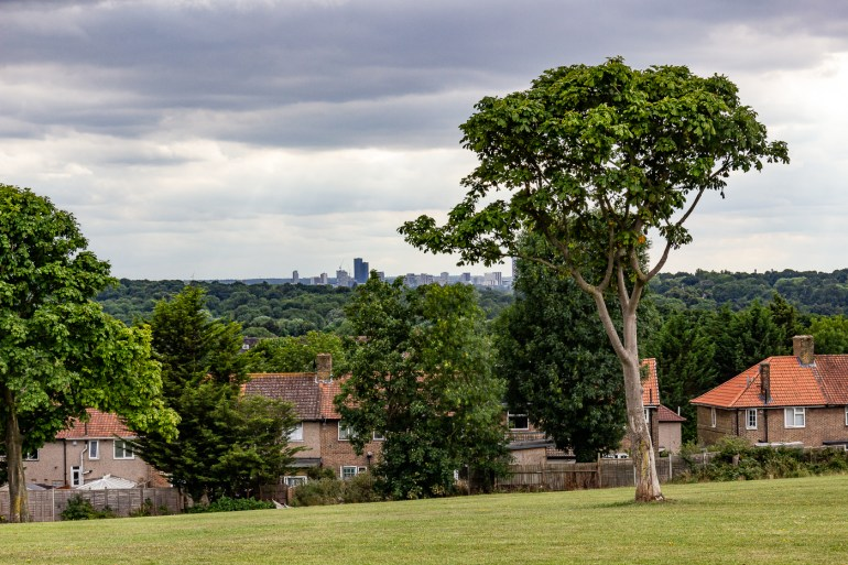 View over London from Downham Fields in SE London