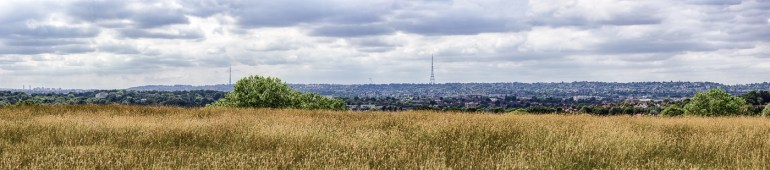 A panoramic view from Downham Fields in SE London