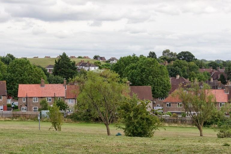 Looking towards the Reservoir Hill opposite Downham Fields in SE London