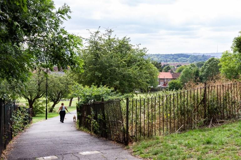 Entrance to Downham Fields in SE London from Moorside Road
