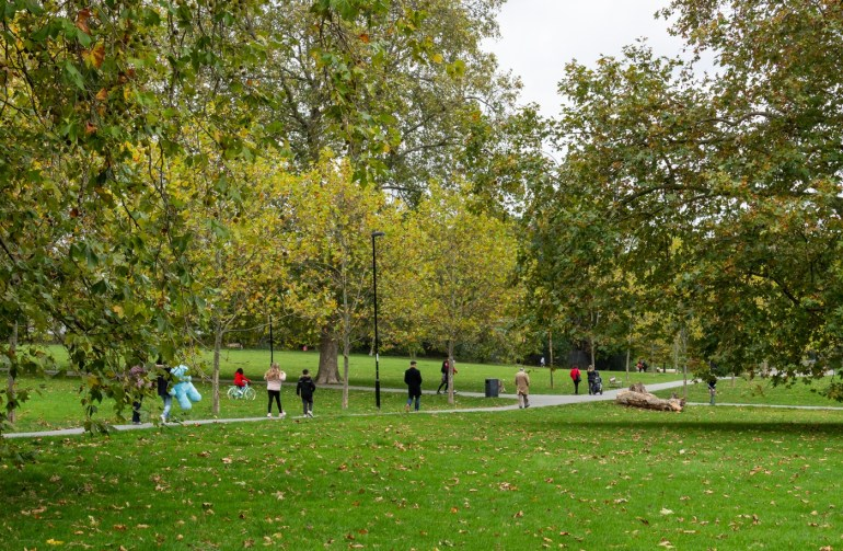 People crossing the park down an avenue of London Plane trees in the South Field in Ladywell Fields