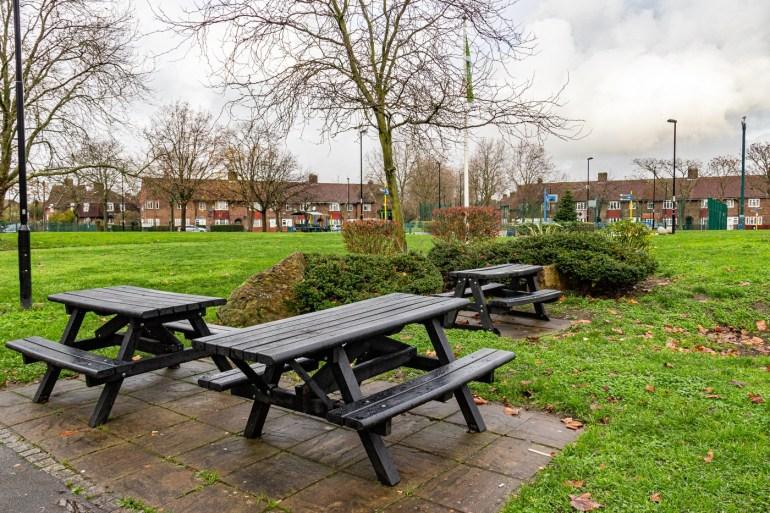 Picnic area on Bellingham Green in SE London