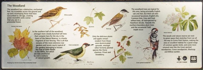 Information board in Grove Park Nature Reserve
