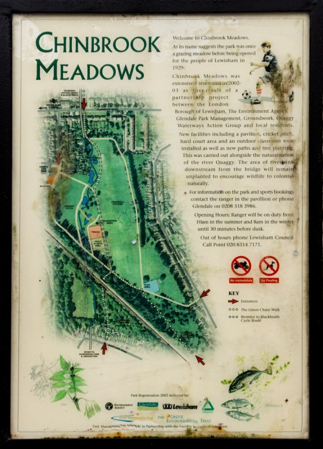 Information board at the main entrance top Chinbrook Meadows