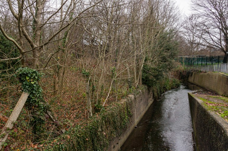 River Quaggy with the Sydenham Cottages Nature Reserve to the left, and Sports Ground to the right