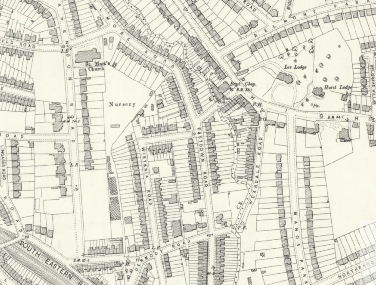 Gilmore Road Triangle shown as a nursery, OS Maps, NLS, published 1897: https://maps.nls.uk/view/101919936