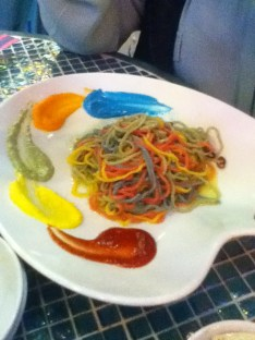 colorful spaghetti my friend's meal and yummy!