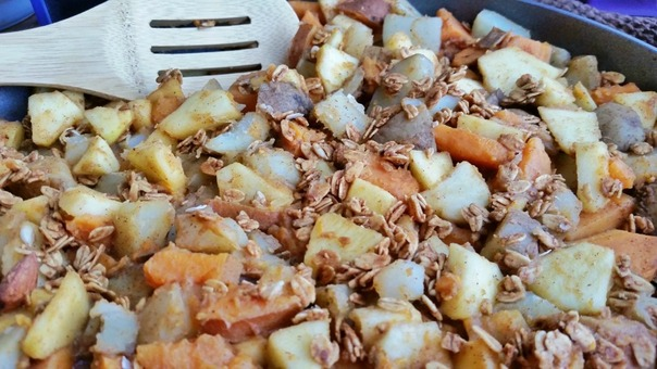 Apple potato hash with Lovegrown Foods granola topping; Enticing Healthy Eating