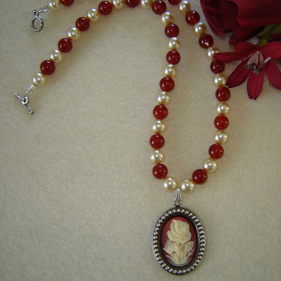 Vintage Style Cameo On A Beaded Necklace Of Carnelian
