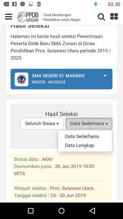 status hasil seleksi ppdb sma zonasi