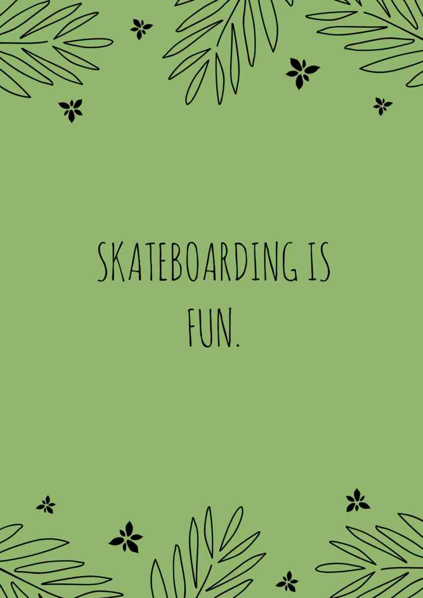 Skateboarding is Fun.