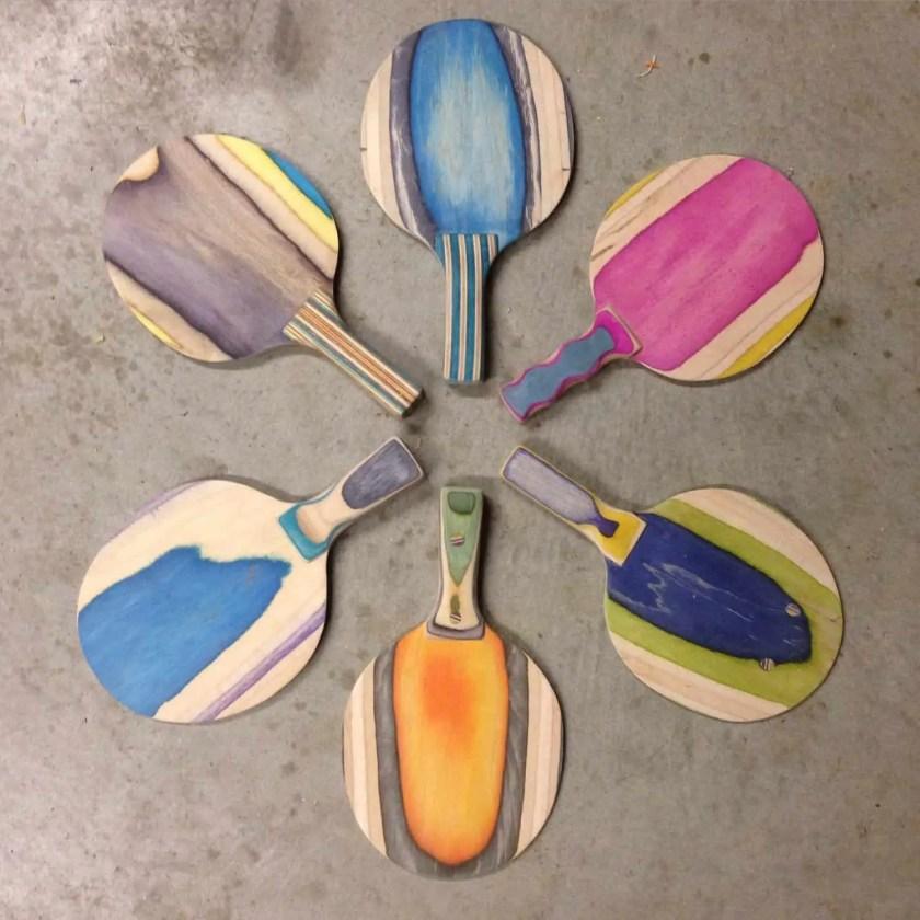 recycled skateboard ping pong paddles