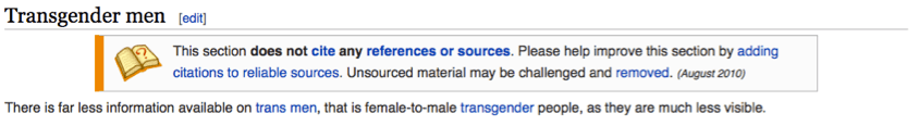 Wikipedia Entry for Transmen