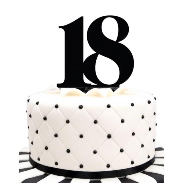 18 Birthday Cakes Acrylic Number 18 Black Birthday Cake Topper Party Cupcake Fondant