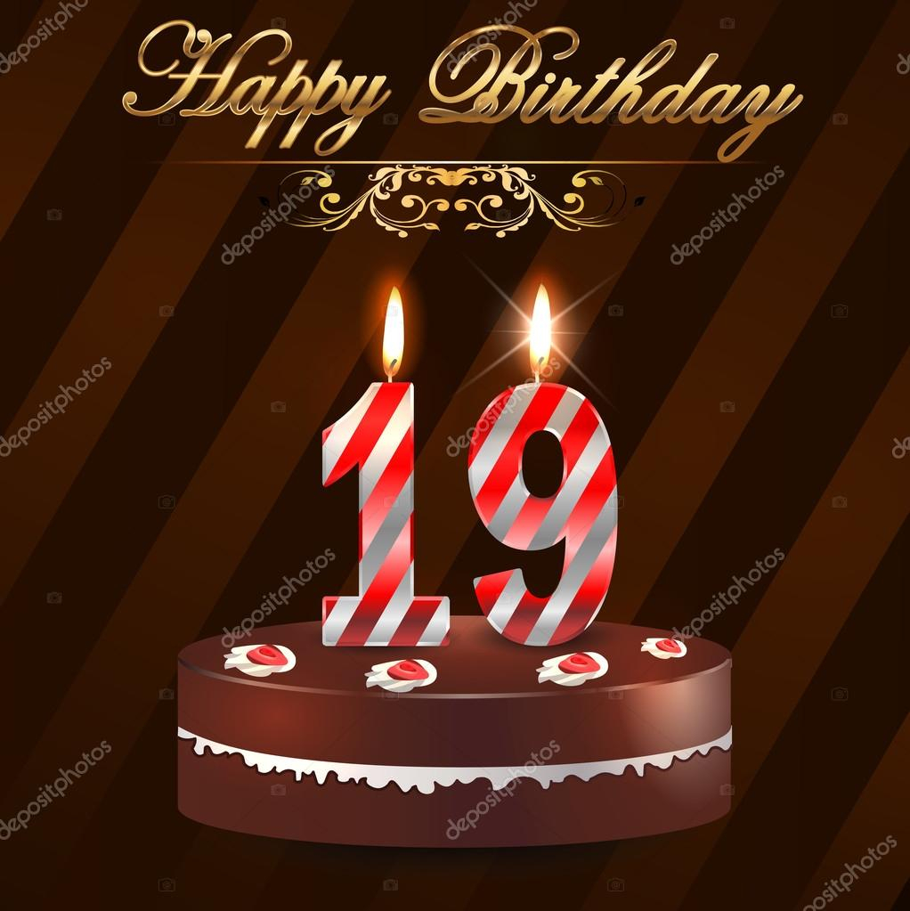 19 Birthday Cake Year Happy Hard With And Candles 19th