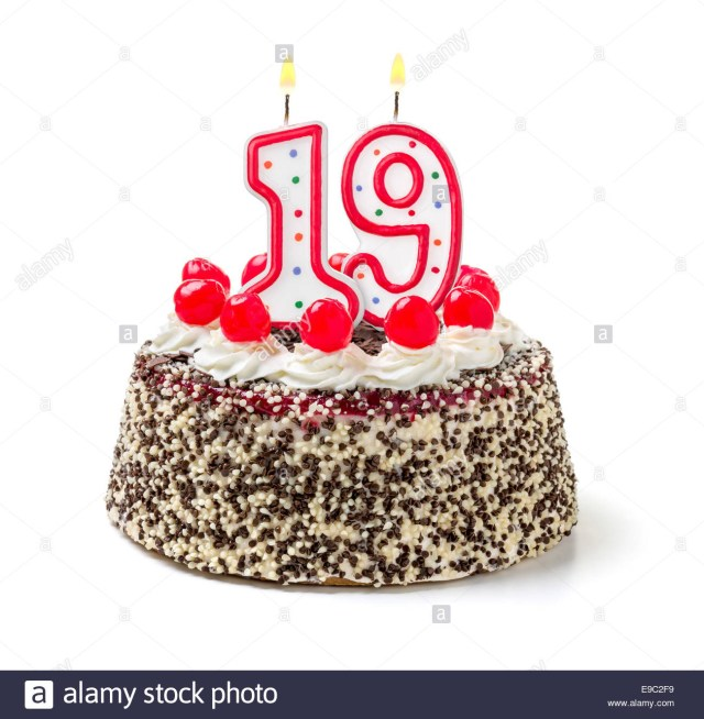 19 Birthday Cake Birthday Cake With Burning Candle Number 19 Stock Photo 74638797