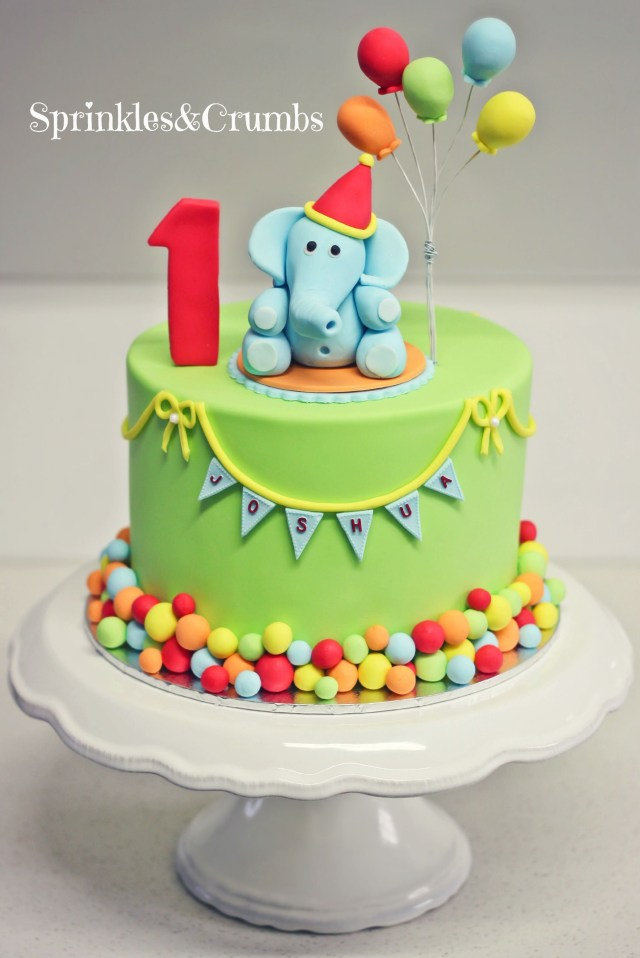 1St Birthday Cakes A Colourful Circus Themed First Birthday Cake Featuring An Elephant