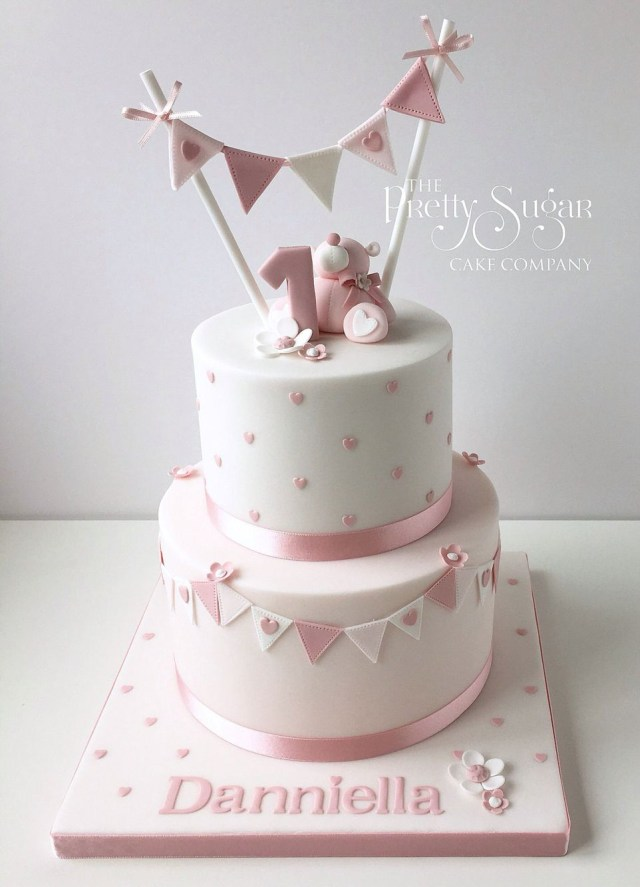 1St Birthday Cakes Girl Pink Polka Dot First Birthday Cake With Teddy Bunting Detail