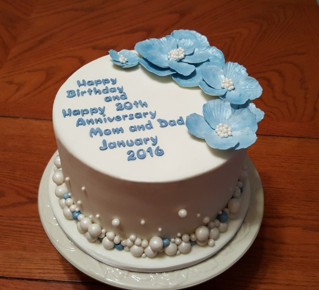 20Th Birthday Cakes 20th Anniversary Blue And White Pearls Cake Cakecentral