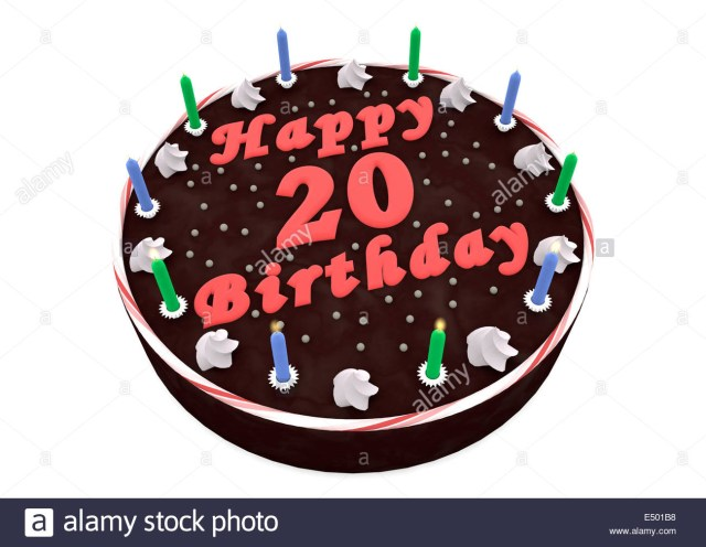 20Th Birthday Cakes Chocolate Cake For 20th Birthday Stock Photo 71915852 Alamy
