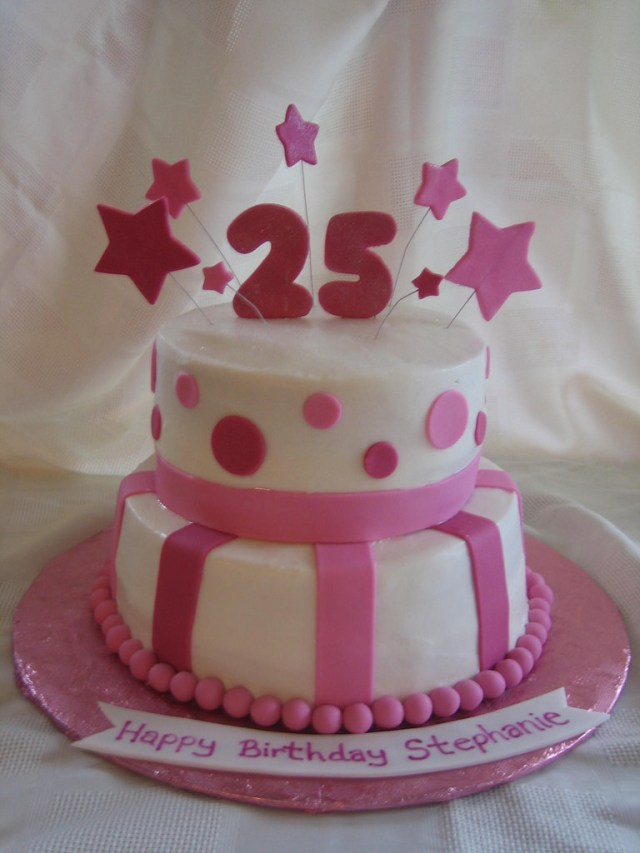 25Th Birthday Cake 25th Birthday Cake 25th Birthday Cake With Fondant Stars Flickr