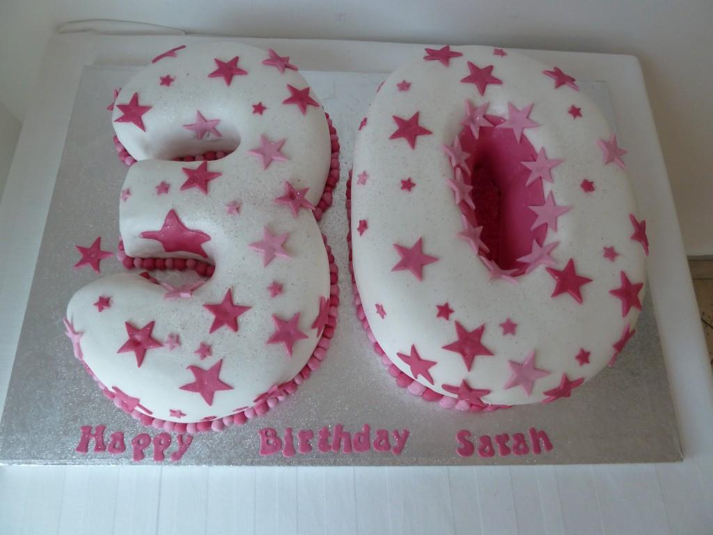 30Th Birthday Cake Ideas 30th Birthday Cake White Pink Stars Wedding Birthday Cakes