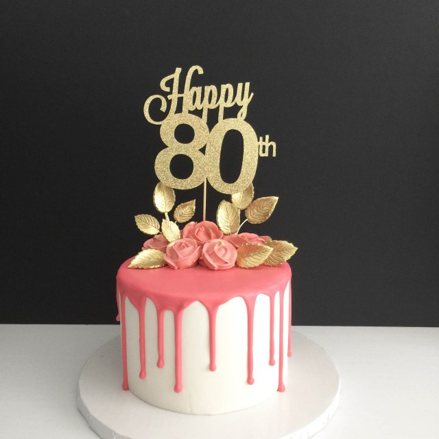 80Th Birthday Cake Any Age 80th Birthday Cake Topper Happy 80th Cake Topper Etsy