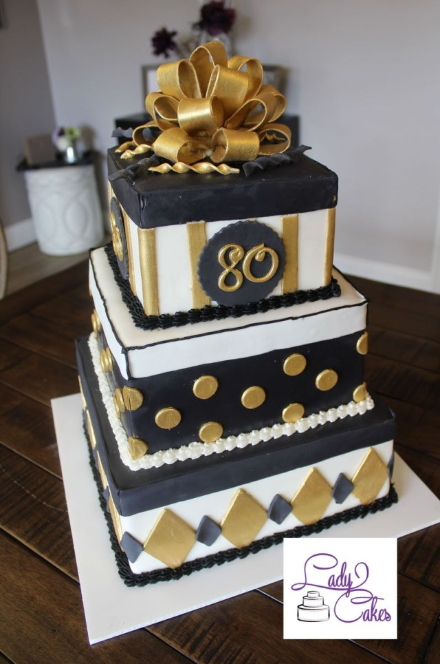 80Th Birthday Cake Black And Gold 80th Birthday Cake Ladycakes Bakery